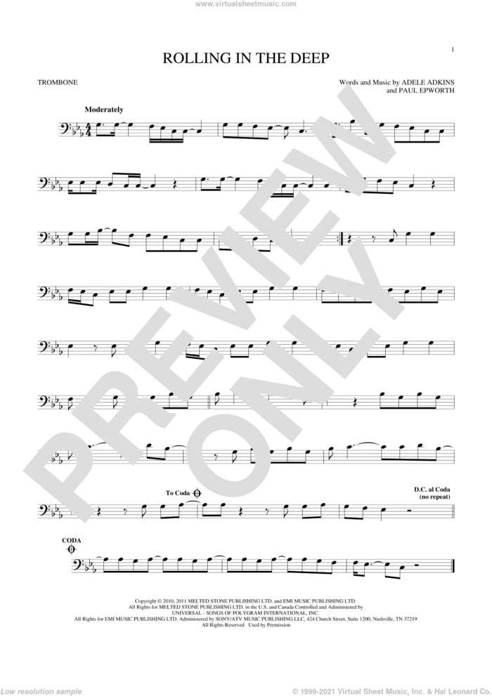 Rolling In The Deep sheet music for trombone solo by Adele, Adele Adkins and Paul Epworth, intermediate skill level