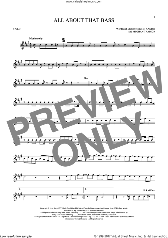 All About That Bass sheet music for violin solo by Meghan Trainor and Kevin Kadish, intermediate skill level