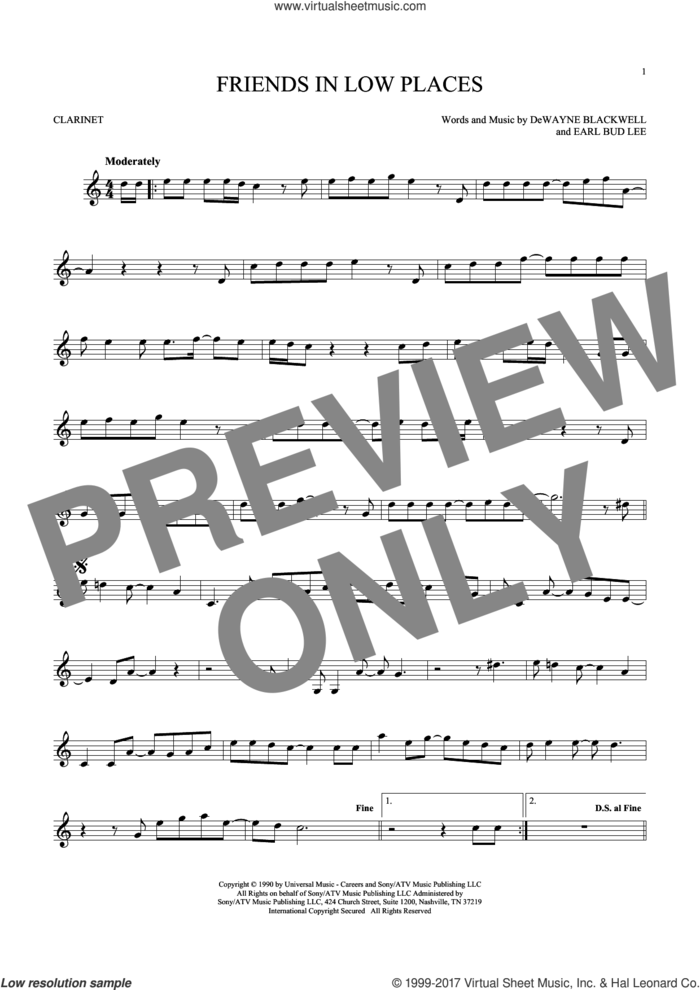 Friends In Low Places sheet music for clarinet solo by Garth Brooks, DeWayne Blackwell and Earl Bud Lee, intermediate skill level