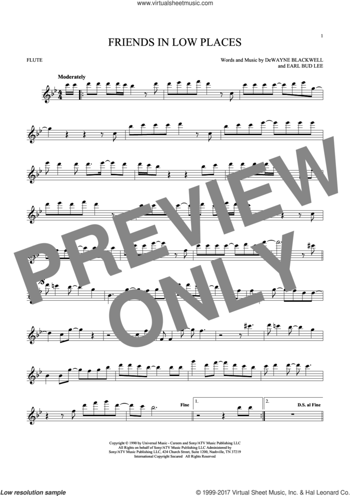 Friends In Low Places sheet music for flute solo by Garth Brooks, DeWayne Blackwell and Earl Bud Lee, intermediate skill level