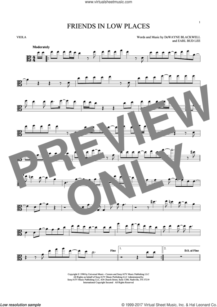 Friends In Low Places sheet music for viola solo by Garth Brooks, DeWayne Blackwell and Earl Bud Lee, intermediate skill level