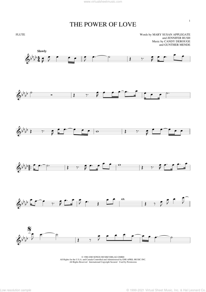 The Power Of Love sheet music for flute solo by Air Supply, Celine Dion, Laura Brannigan, Candy Derouge, Gunther Mende, Jennifer Rush and Mary Susan Applegate, intermediate skill level