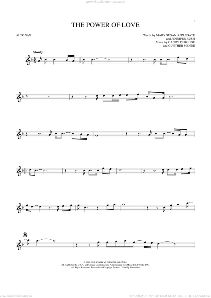 The Power Of Love sheet music for alto saxophone solo by Air Supply, Celine Dion, Laura Brannigan, Candy Derouge, Gunther Mende, Jennifer Rush and Mary Susan Applegate, intermediate skill level