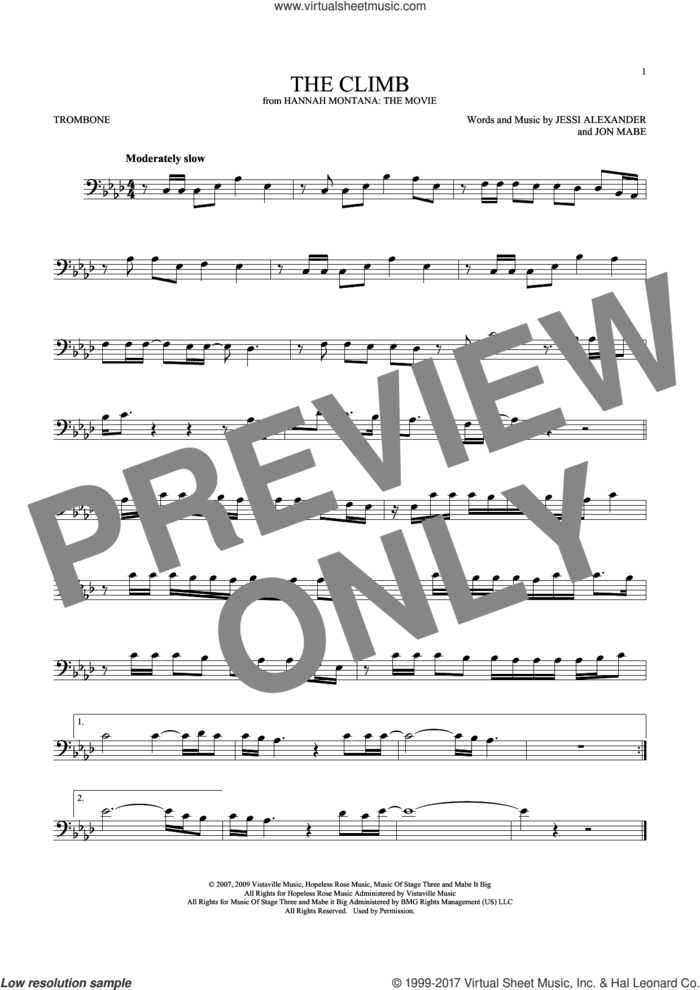 The Climb sheet music for trombone solo by Miley Cyrus, Jessi Alexander and Jon Mabe, intermediate skill level