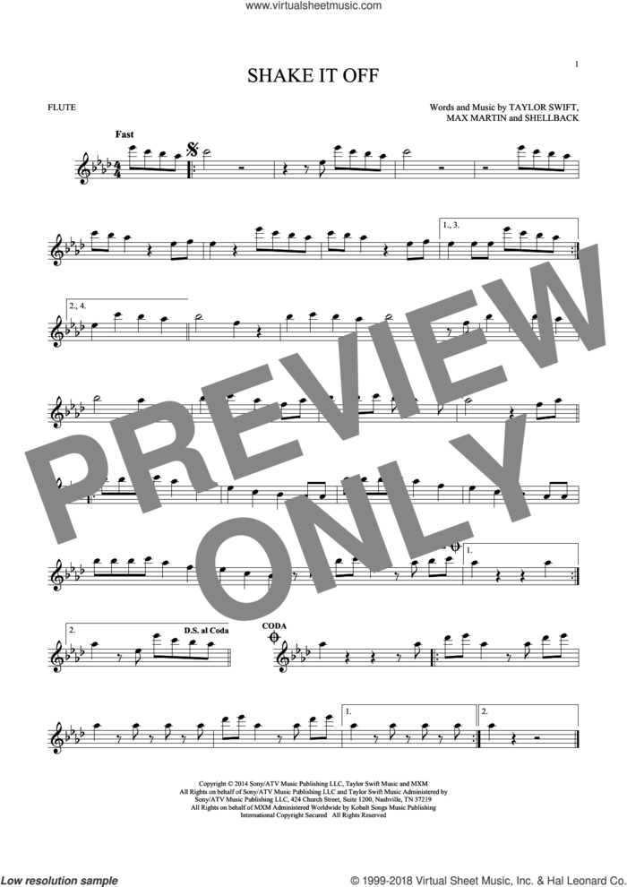 Shake It Off sheet music for flute solo by Taylor Swift, Johan Schuster, Max Martin and Shellback, intermediate skill level