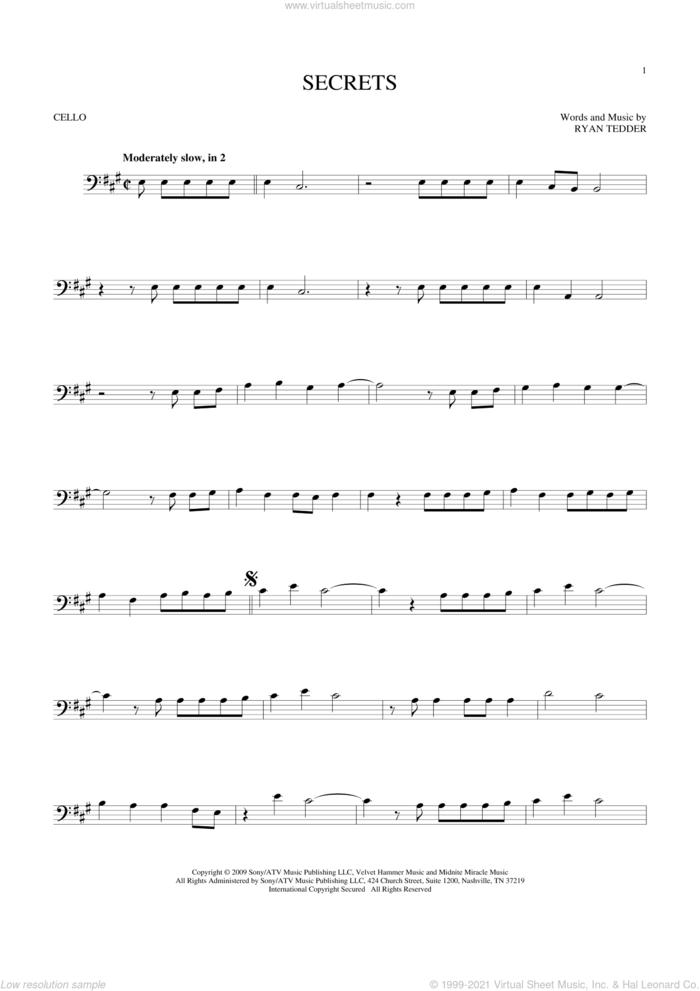 Secrets sheet music for cello solo by OneRepublic and Ryan Tedder, intermediate skill level