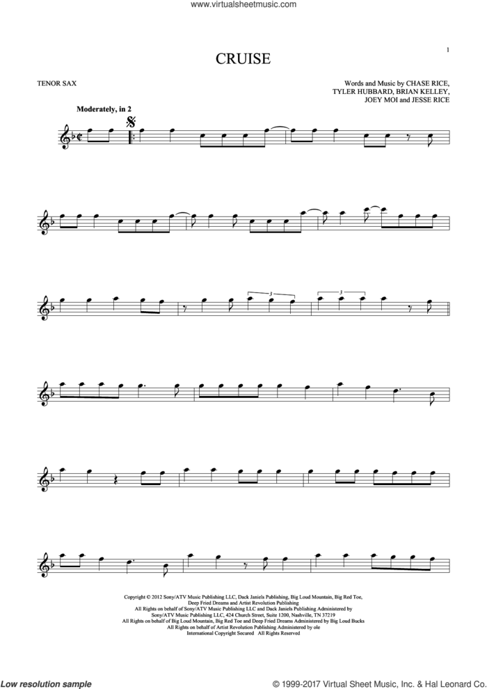 Cruise sheet music for tenor saxophone solo by Florida Georgia Line, Brian Kelley, Chase Rice, Jesse Rice, Joey Moi and Tyler Hubbard, intermediate skill level