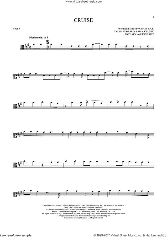 Cruise sheet music for viola solo by Florida Georgia Line, Brian Kelley, Chase Rice, Jesse Rice, Joey Moi and Tyler Hubbard, intermediate skill level