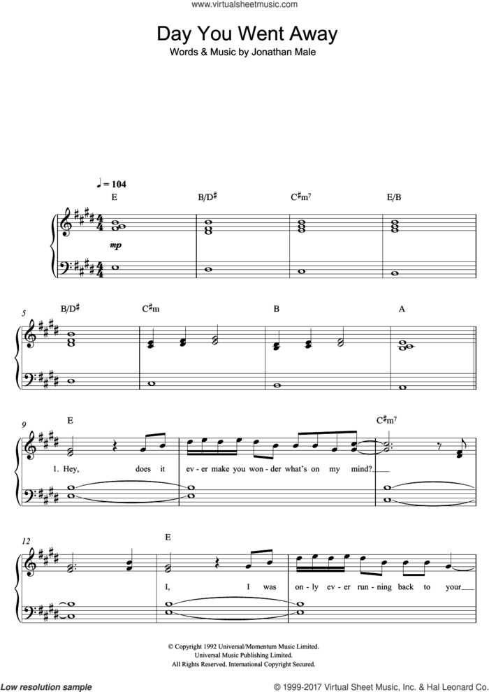 The Day You Went Away sheet music for piano solo by Wendy Matthews, easy skill level