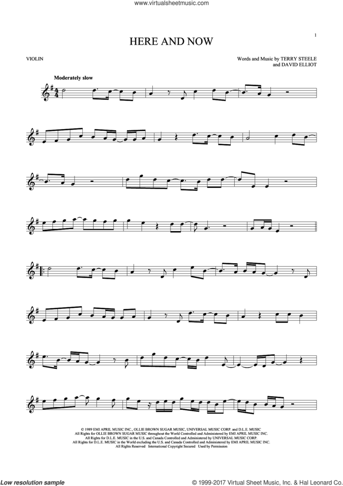 Here And Now sheet music for violin solo by Luther Vandross, David Elliot and Terry Steele, wedding score, intermediate skill level