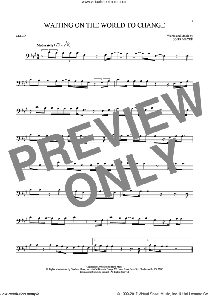 Waiting On The World To Change sheet music for cello solo by John Mayer, intermediate skill level