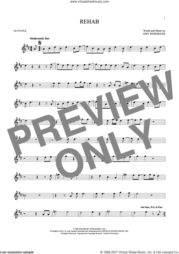 Rehab sheet music for alto saxophone solo by Amy Winehouse, intermediate skill level