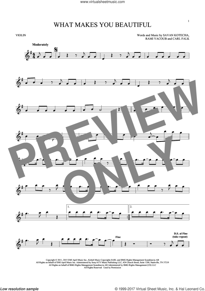What Makes You Beautiful sheet music for violin solo by One Direction, Carl Falk, Rami and Savan Kotecha, intermediate skill level