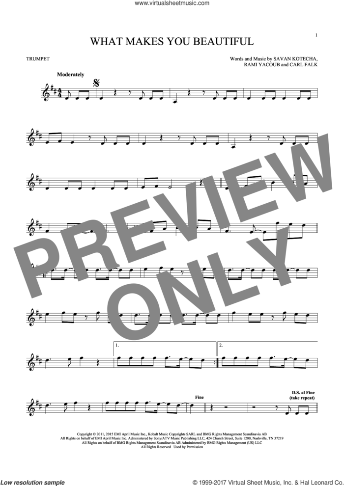 What Makes You Beautiful sheet music for trumpet solo by One Direction, Carl Falk, Rami and Savan Kotecha, intermediate skill level