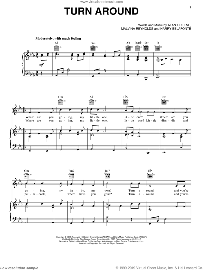 Turn Around sheet music for voice, piano or guitar by Dick & DeeDee, Alan Greene, Harry Belafonte, Malvina Reynolds and Sonny & Cher, intermediate skill level