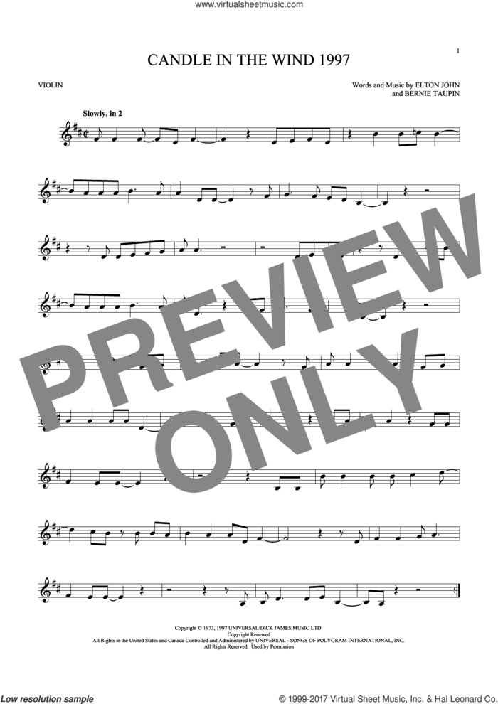 Candle In The Wind 1997 sheet music for violin solo by Elton John and Bernie Taupin, intermediate skill level