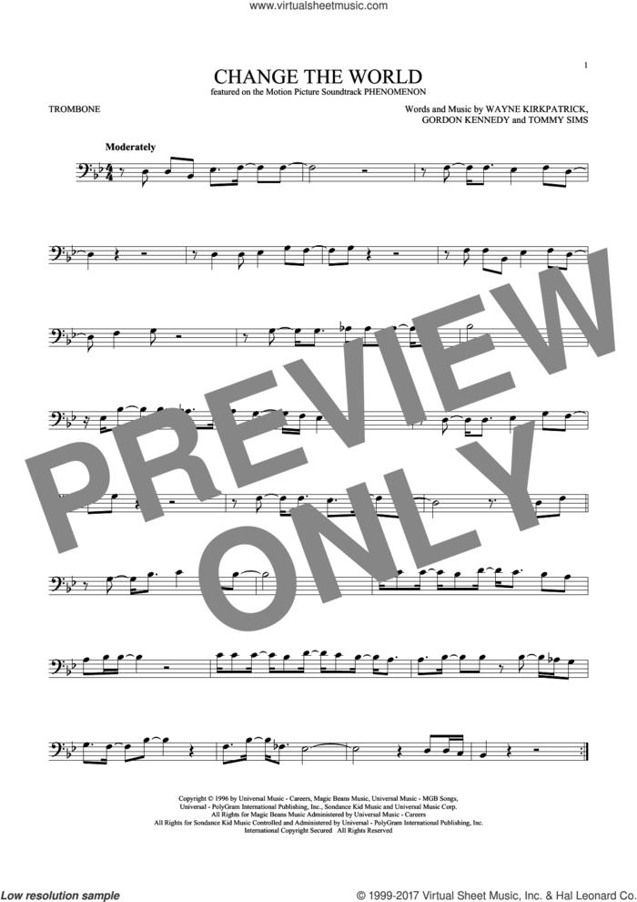 Change The World sheet music for trombone solo by Eric Clapton, Wynonna, Gordon Kennedy, Tommy Sims and Wayne Kirkpatrick, intermediate skill level