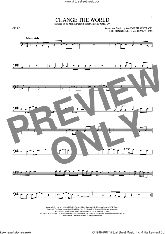 Change The World sheet music for cello solo by Eric Clapton, Wynonna, Gordon Kennedy, Tommy Sims and Wayne Kirkpatrick, intermediate skill level