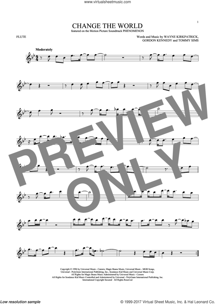 Change The World sheet music for flute solo by Eric Clapton, Wynonna, Gordon Kennedy, Tommy Sims and Wayne Kirkpatrick, intermediate skill level