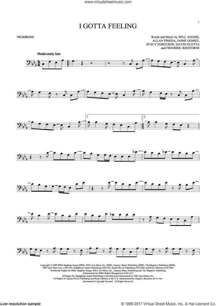 I Gotta Feeling sheet music for trombone solo by Will Adams, Black Eyed Peas, Allan Pineda, David Guetta, Frederic Riesterer, Jaime Gomez and Stacy Ferguson, intermediate skill level