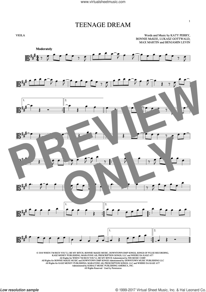 Teenage Dream sheet music for viola solo by Katy Perry, Benjamin Levin, Bonnie McKee, Lukasz Gottwald and Max Martin, intermediate skill level