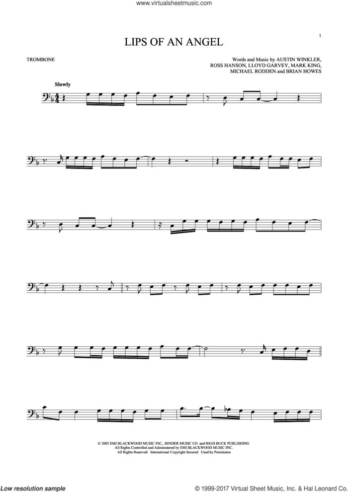 Lips Of An Angel sheet music for trombone solo by Hinder, Jack Ingram, Austin Winkler, Brian Howes, Lloyd Garvey, Mark King, Michael Rodden and Ross Hanson, intermediate skill level