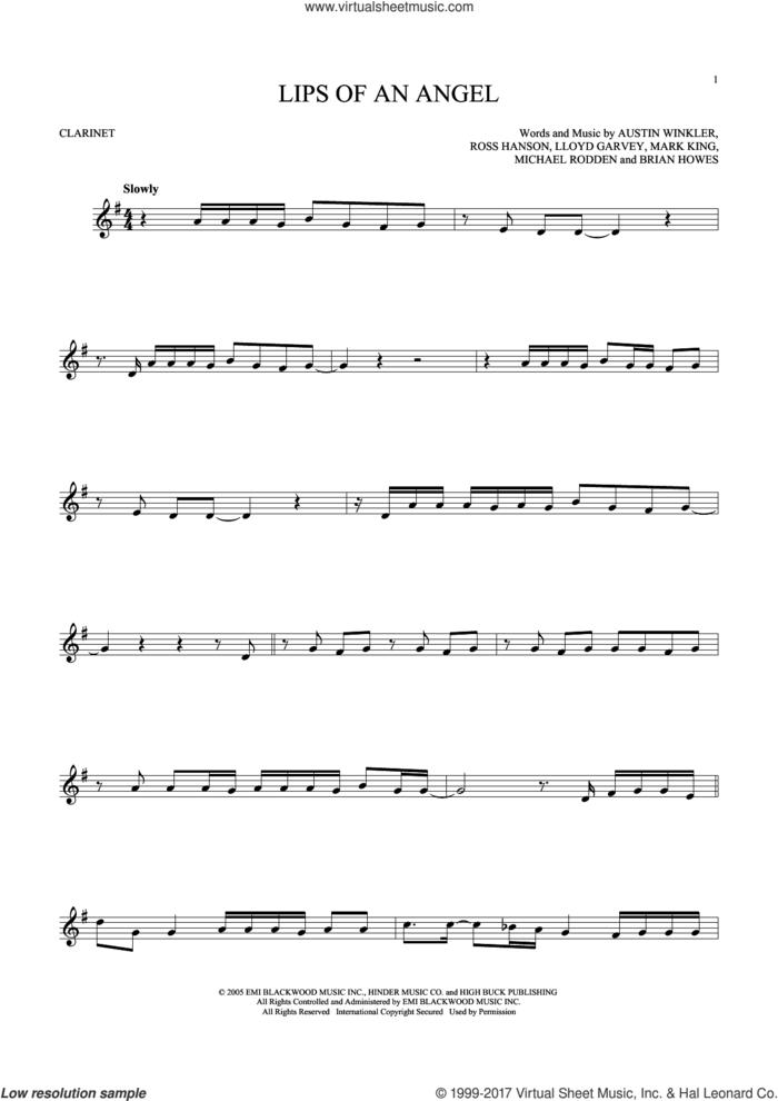 Lips Of An Angel sheet music for clarinet solo by Hinder, Jack Ingram, Austin Winkler, Brian Howes, Lloyd Garvey, Mark King, Michael Rodden and Ross Hanson, intermediate skill level