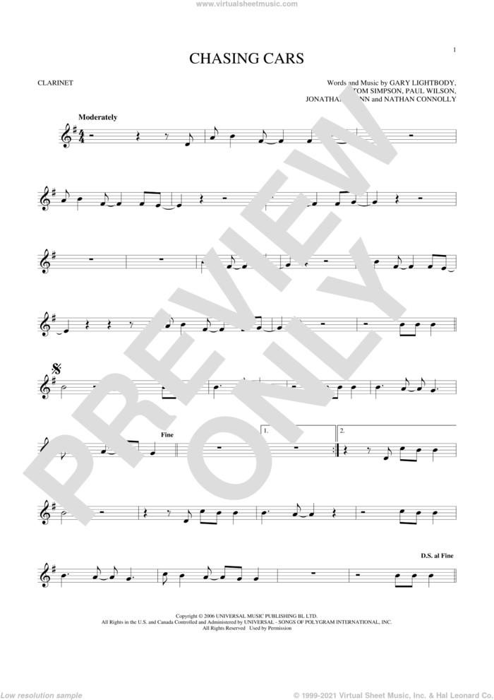 Chasing Cars sheet music for clarinet solo by Snow Patrol, Gary Lightbody, Jonathan Quinn, Nathan Connolly, Paul Wilson and Tom Simpson, intermediate skill level