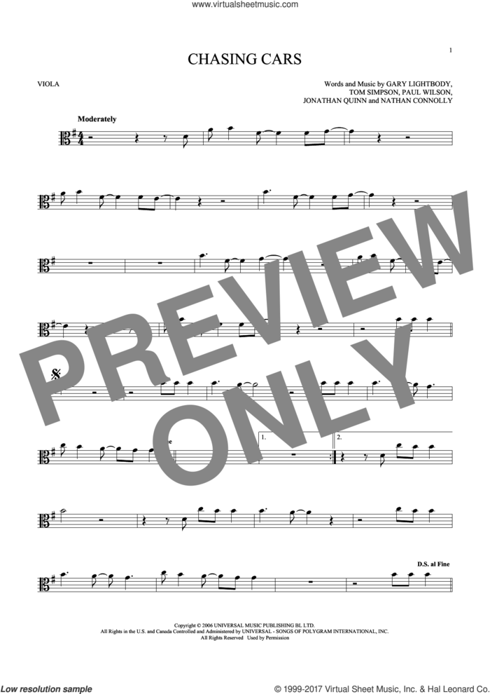 Chasing Cars sheet music for viola solo by Snow Patrol, Gary Lightbody, Jonathan Quinn, Nathan Connolly, Paul Wilson and Tom Simpson, intermediate skill level