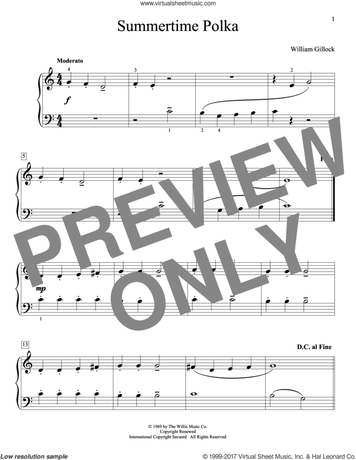 Summertime Polka sheet music for piano solo (elementary) by William Gillock, beginner piano (elementary)