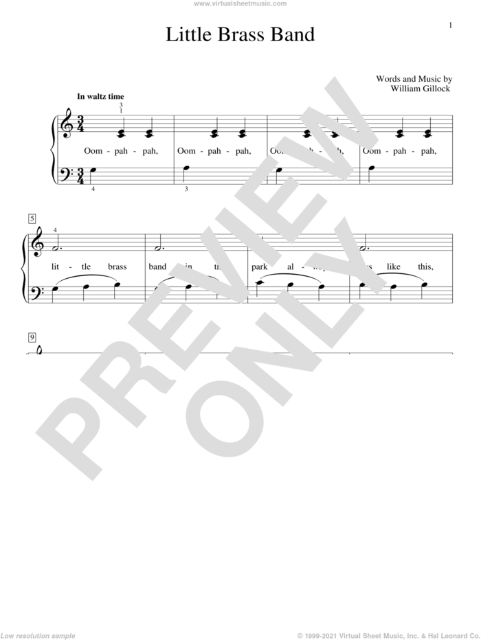 Little Brass Band sheet music for piano solo (elementary) by William Gillock, beginner piano (elementary)