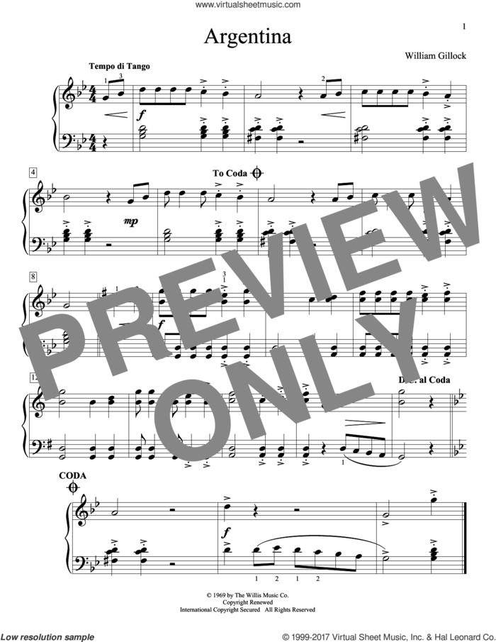 Argentina sheet music for piano solo (elementary) by William Gillock, beginner piano (elementary)