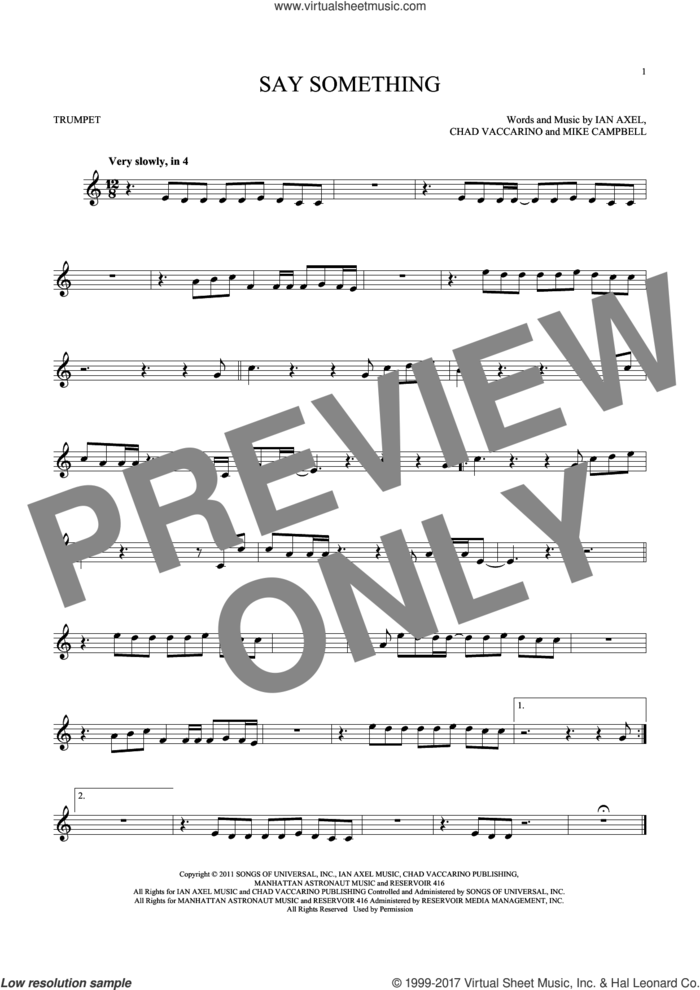 Say Something sheet music for trumpet solo by A Great Big World, Chad Vaccarino, Ian Axel and Mike Campbell, intermediate skill level