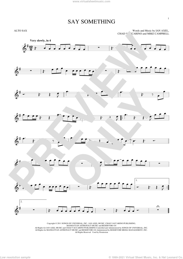 Say Something sheet music for alto saxophone solo by A Great Big World, Chad Vaccarino, Ian Axel and Mike Campbell, intermediate skill level