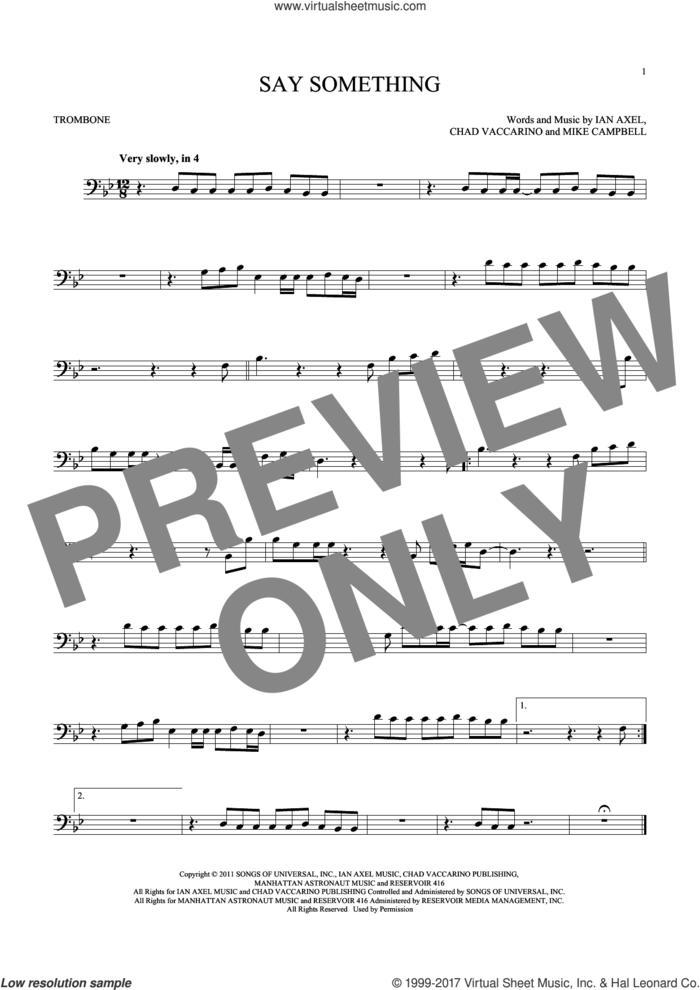 Say Something sheet music for trombone solo by A Great Big World, Chad Vaccarino, Ian Axel and Mike Campbell, intermediate skill level