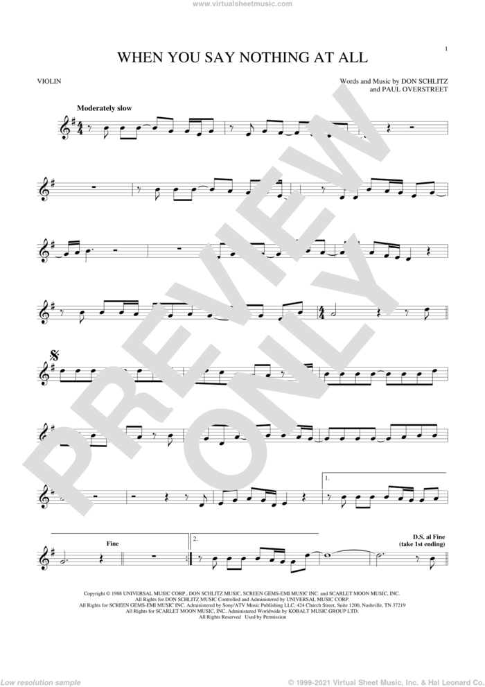 When You Say Nothing At All sheet music for violin solo by Alison Krauss & Union Station, Keith Whitley, Don Schlitz and Paul Overstreet, wedding score, intermediate skill level