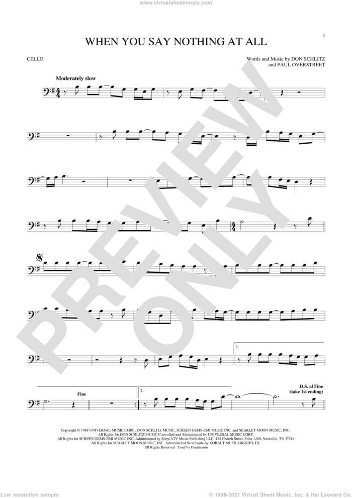 When You Say Nothing At All sheet music for cello solo by Alison Krauss & Union Station, Keith Whitley, Don Schlitz and Paul Overstreet, wedding score, intermediate skill level