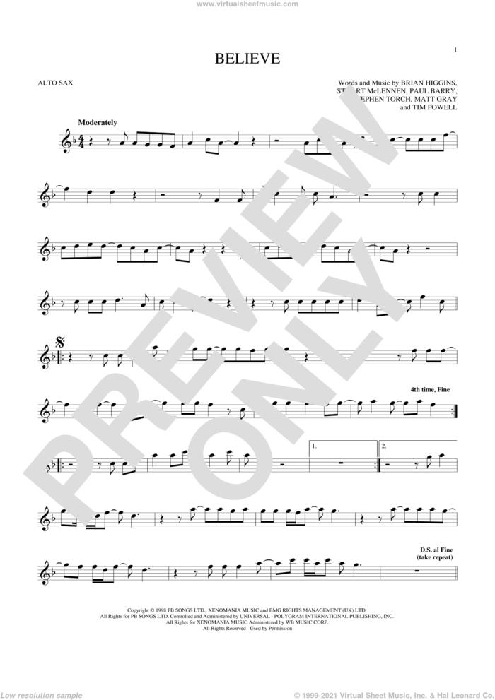 Believe sheet music for alto saxophone solo by Cher, Brian Higgins, Matt Gray, Paul Barry, Stephen Torch, Stuart McLennen and Timothy Powell, intermediate skill level
