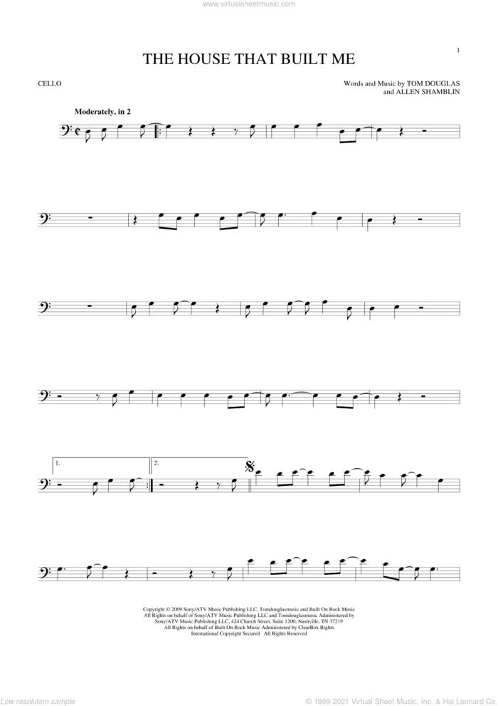 The House That Built Me sheet music for cello solo by Miranda Lambert, Allen Shamblin and Tom Douglas, intermediate skill level