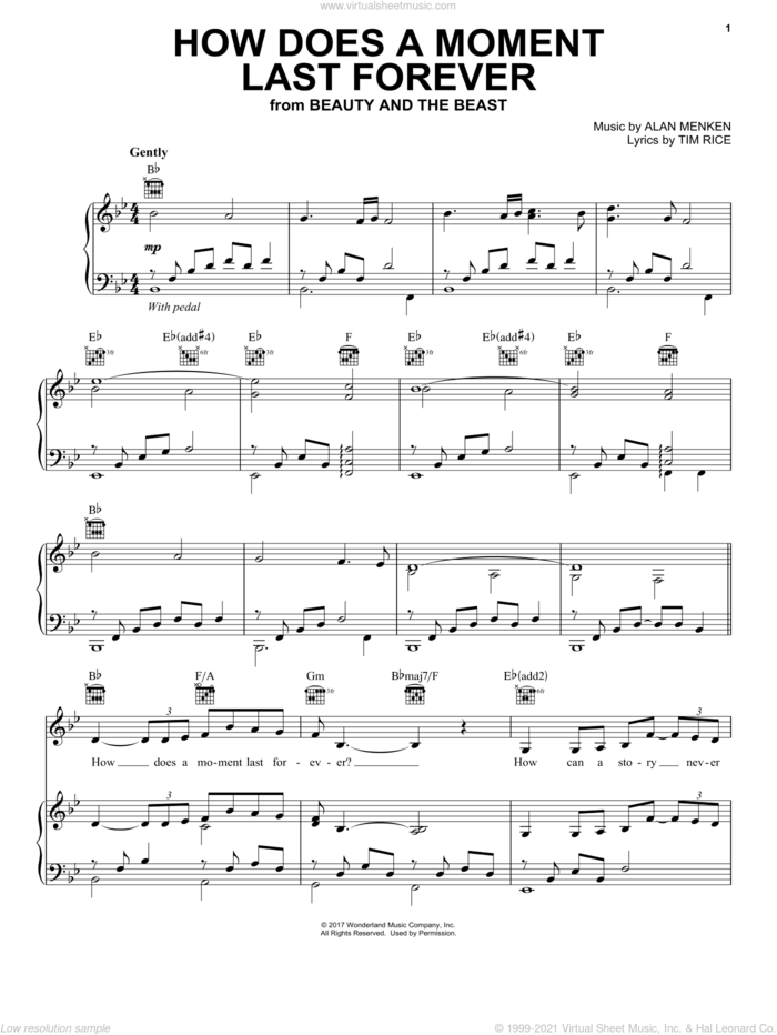 How Does A Moment Last Forever (from Beauty and the Beast) sheet music for voice, piano or guitar by Celine Dion, Alan Menken and Tim Rice, intermediate skill level