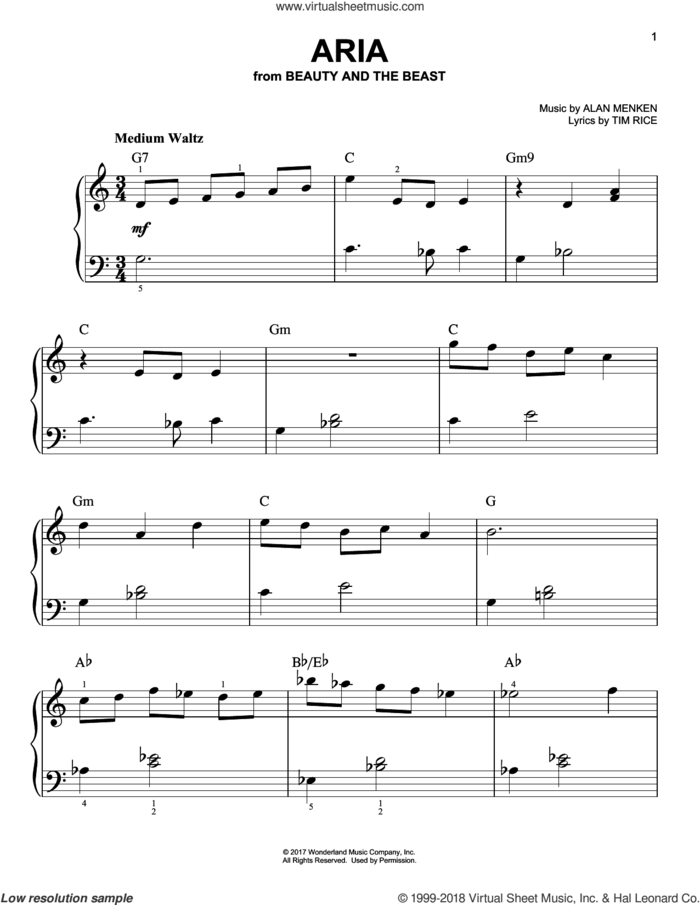 Aria (from Beauty And The Beast) sheet music for piano solo by Audra McDonald, Alan Menken and Tim Rice, easy skill level