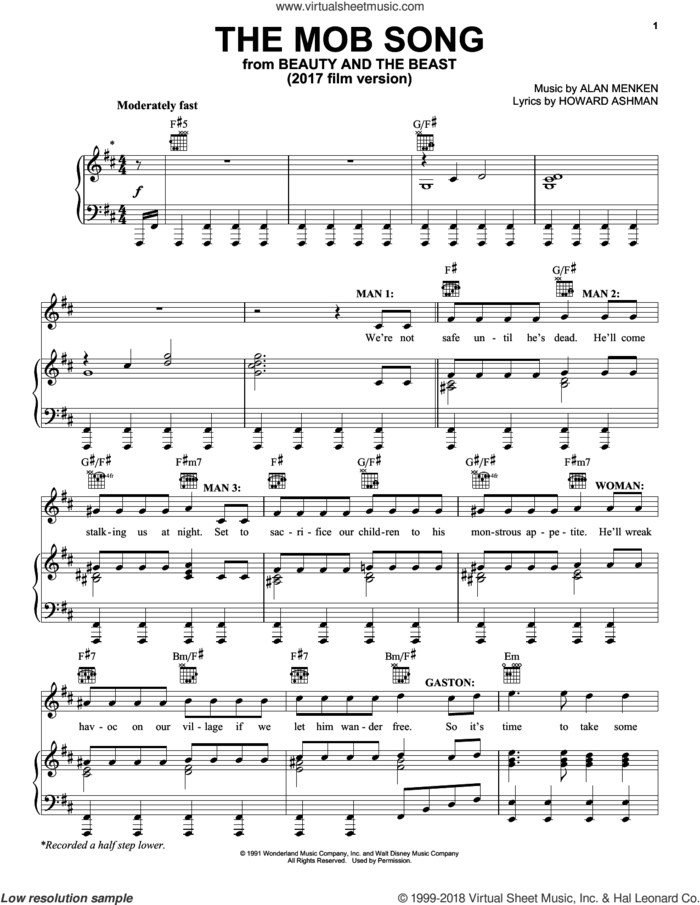 The Mob Song (from Beauty And The Beast) sheet music for voice, piano or guitar by Beauty and the Beast Cast, Emma Thompson, Ewan McGregor, Gugu Mbatha-Raw, Ian McKellan, Josh Gad, Luke Evans, Nathan Mack, Stanley Tucci, Alan Menken and Howard Ashman, intermediate skill level
