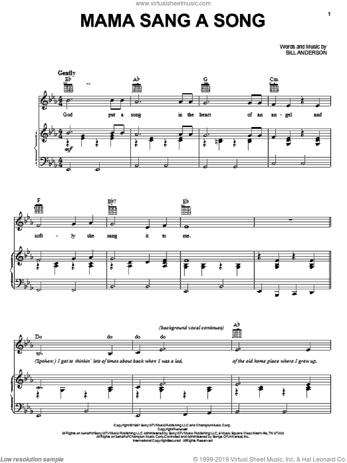 Mama Sang A Song sheet music for voice, piano or guitar by Bill Anderson, intermediate skill level