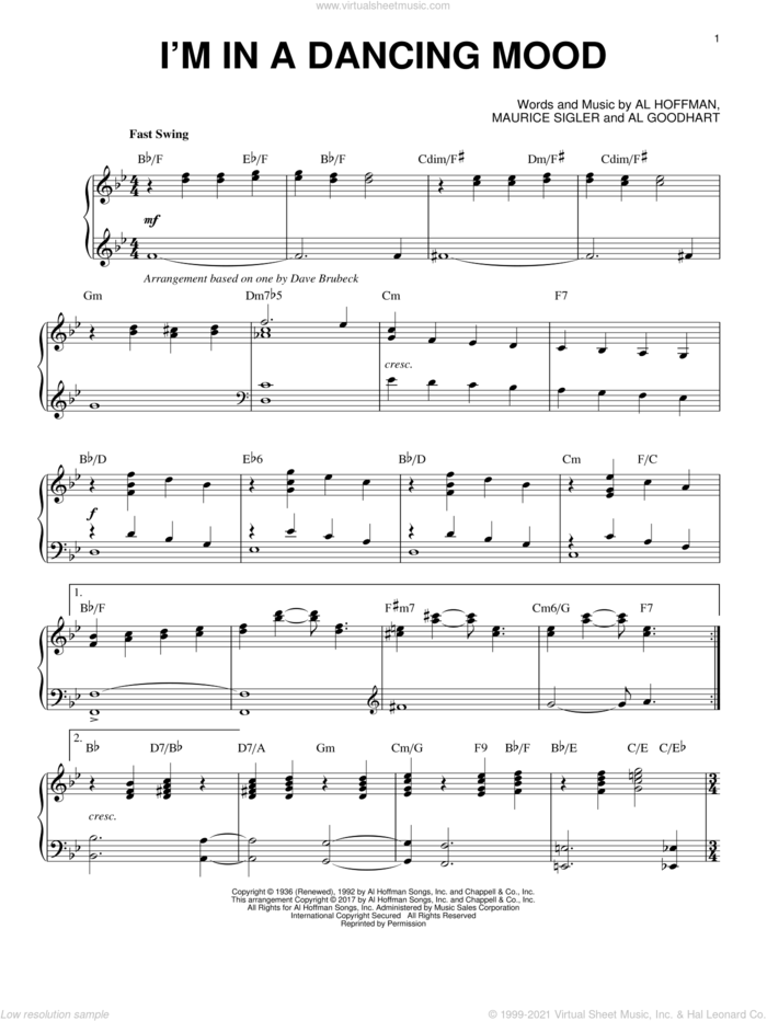 I'm In A Dancing Mood sheet music for piano solo by Dave Brubeck, Al Goodhart, Al Hoffman and Maurice Sigler, intermediate skill level