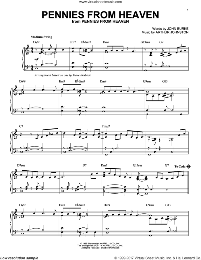 Pennies From Heaven sheet music for piano solo by Dave Brubeck, Arthur Johnston and John Burke, intermediate skill level