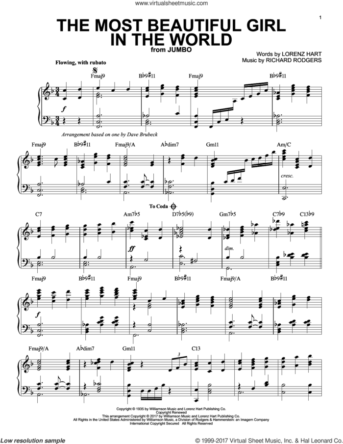 The Most Beautiful Girl In The World sheet music for piano solo by Dave Brubeck, Lorenz Hart and Richard Rodgers, intermediate skill level