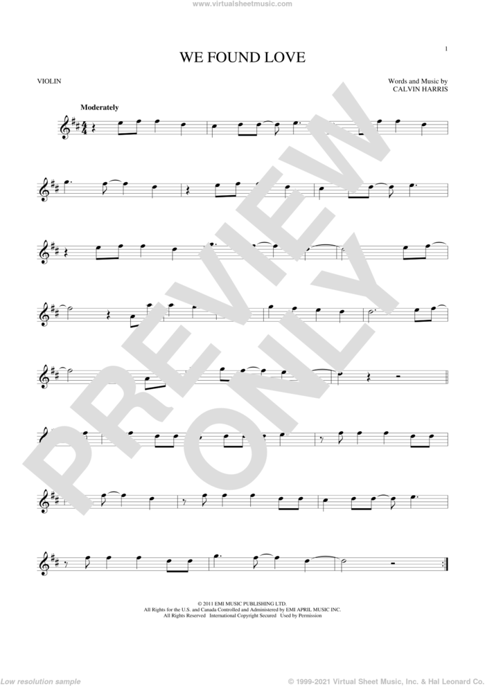 We Found Love sheet music for violin solo by Rihanna featuring Calvin Harris and Calvin Harris, wedding score, intermediate skill level