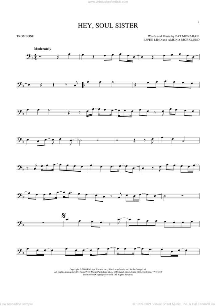 Hey, Soul Sister sheet music for trombone solo by Train, Amund Bjorklund, Espen Lind and Pat Monahan, intermediate skill level
