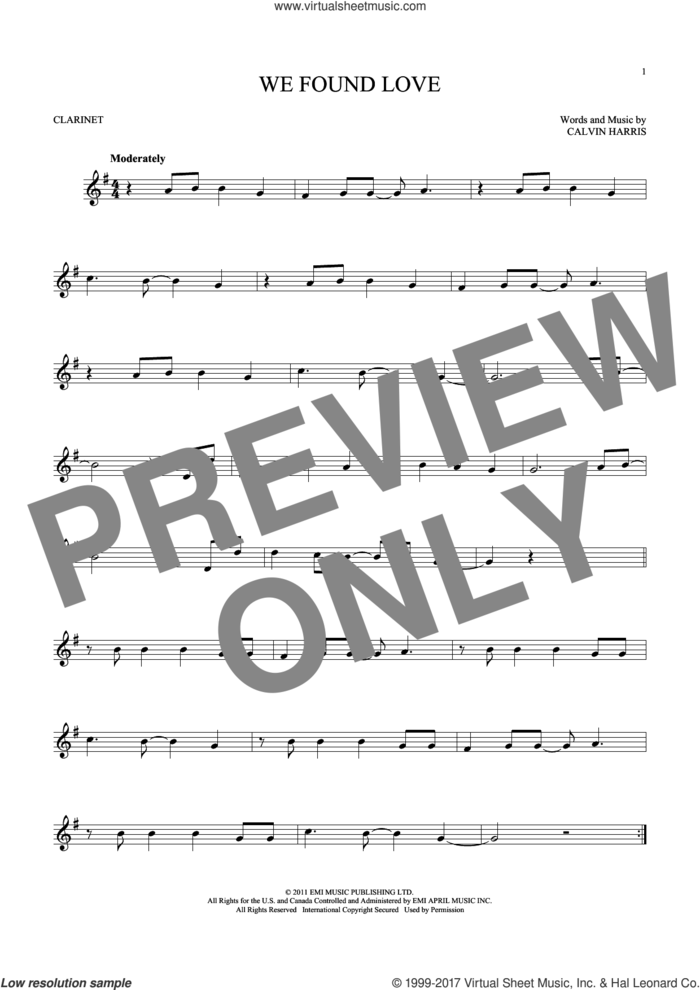 We Found Love sheet music for clarinet solo by Rihanna featuring Calvin Harris and Calvin Harris, wedding score, intermediate skill level