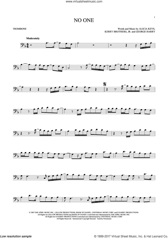 No One sheet music for trombone solo by Alicia Keys, George Harry and Kerry Brothers, intermediate skill level